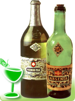 Vintage bottles of alcohol-strong absinthe
